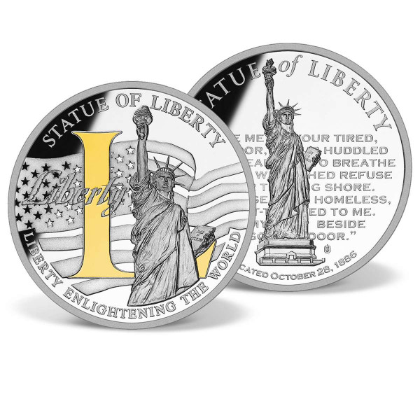 "LIBERTY ""L"" Commemorative Gold-Accented Coin US_9172488_1"