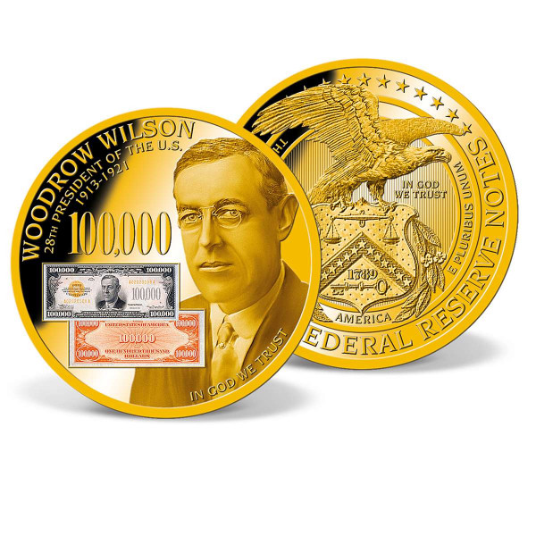 Woodrow Wilson - 1934 $100,000 Gold Certificate Commemorative Coin US_1941251_1