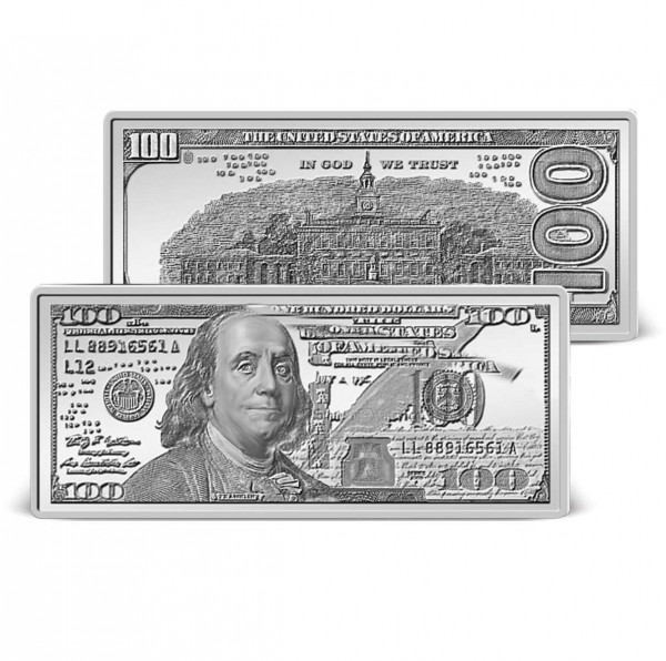 $100 Banknote Solid Silver Ingot US_9171450_1