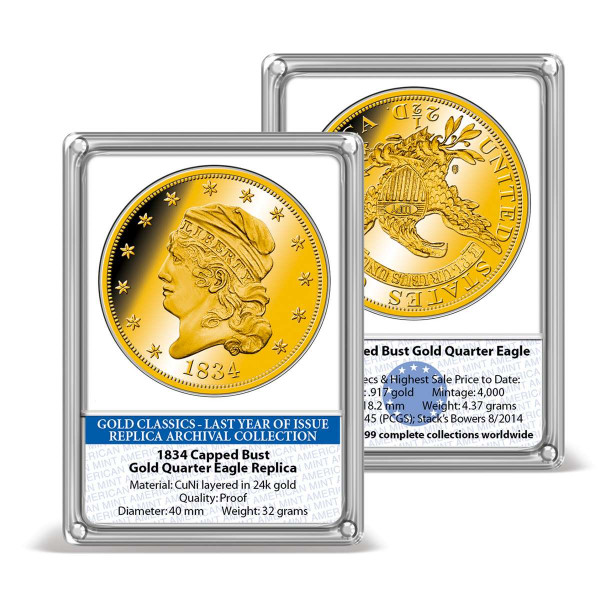 1834 Capped Bust Gold Quarter Eagle Replica Archival Edition US_8201637_1