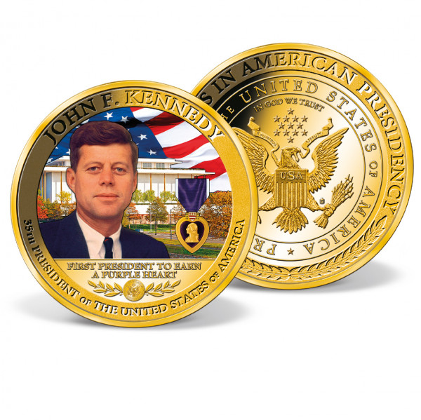 John F. Kennedy - First President to Earn a Purple Heart Colossal Commemorative Coin