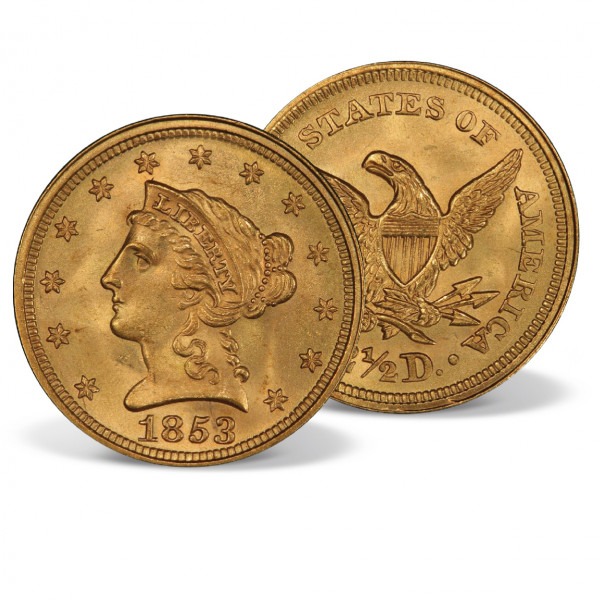 1853 Gold Coronet Liberty Head Quarter Eagle