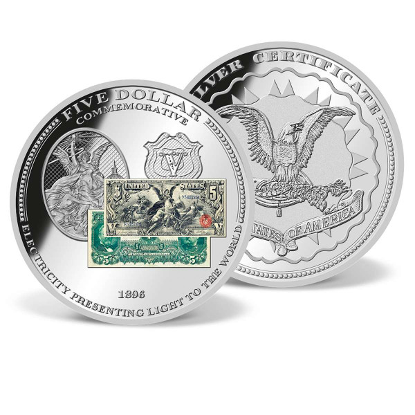 "1896 $5 ""Presenting Light"" Banknote Commemorative Coin US_9184812_1"