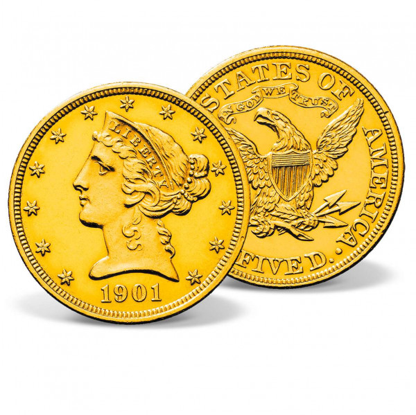 1901 $5 Liberty Head Half Eagle Gold Coin US_2711392_4