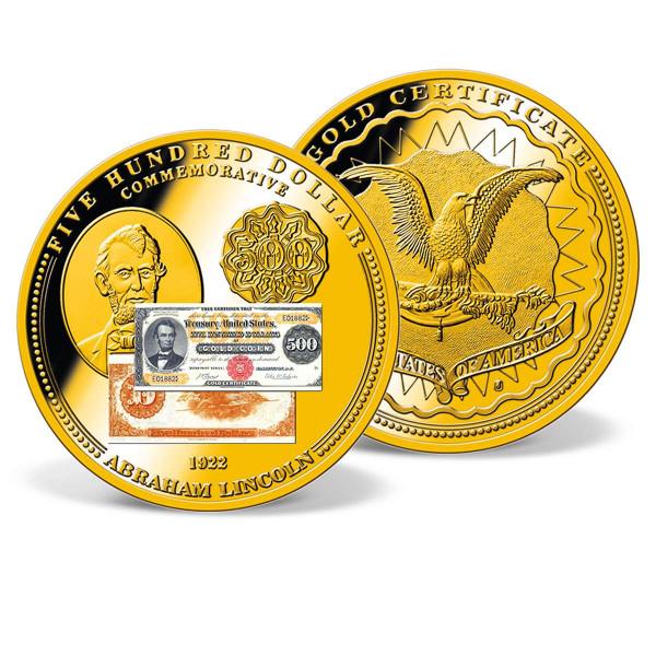1922 $500 Lincoln Gold Certificate Commemorative Coin US_9184421_1