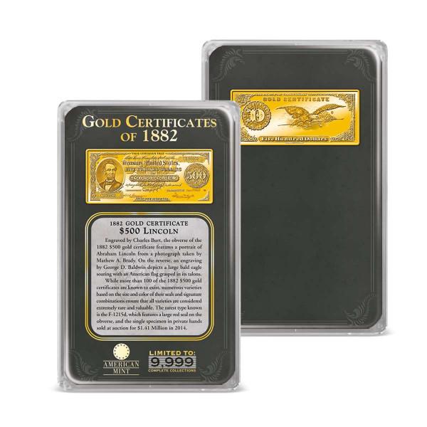 1882 $500 Gold Certificate Ingot Tribute US_9171740_6