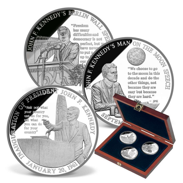 Speeches of JFK Solid Silver Commemorative Coin Set US_9175437_1