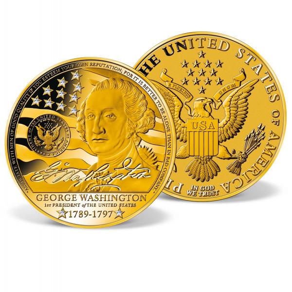 George Washington Crystal-Inlaid Jumbo Commemorative Coin