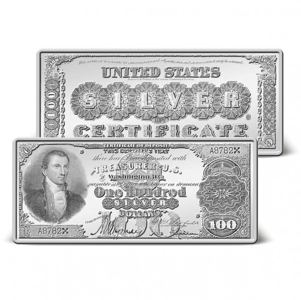 1880 $100 Silver Certificate Ingot | Silver-Plated | Silver ...