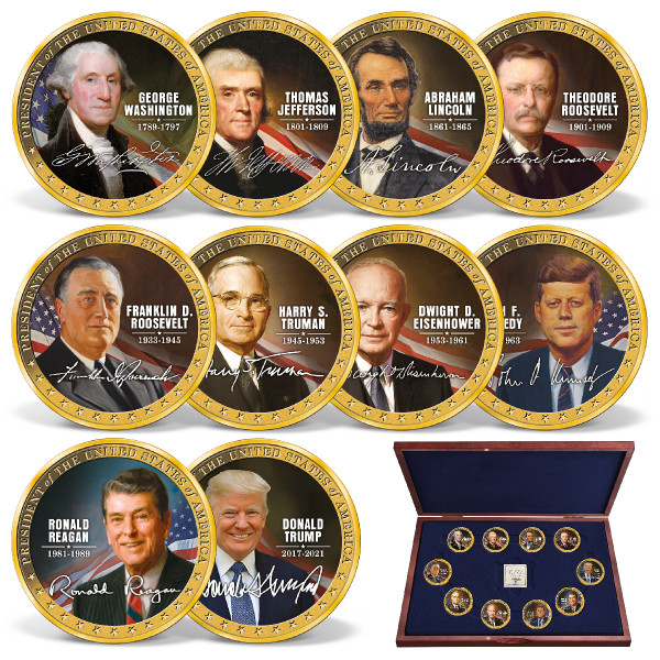 The 10 Greatest Presidents in Color Coin Set